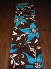 Runners 60x220cm Aprox 8ft Hand Carved Super Quality Lily Brown/Teal Stunning